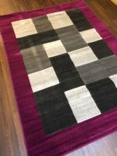 NEW MODERN BLOCK DESIGN RUGS PURPLE 150X210CM 7X5FT APPROX GREAT QUALITY MATS